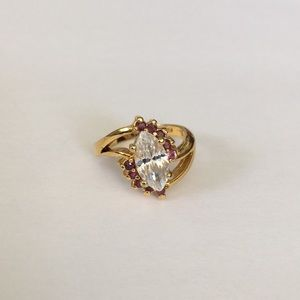 Vintage Ring Marquise Cut Center Stone 7.5